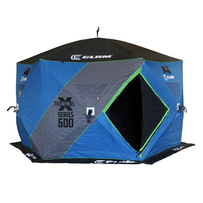 CLAM-14470 Clam X600 Thermal 5-7 Person Outdoor Portable Pop Up Ice Fishing Shelter Tent