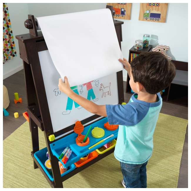 62043 KidKraft Kids Chalkboard & Whiteboard Art Easel with Paper Roll, Espresso 3