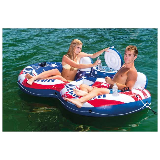 56855VM + 2 x 58854EP Intex American Flag 2 Person Float w/ River Run 1 Person Tube, Blue (2 Pack) 4