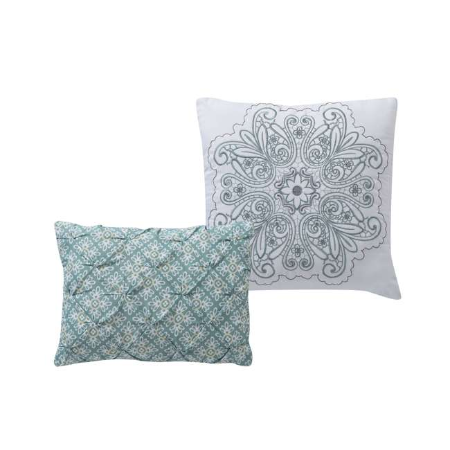 WIN-4QT-XTWN-IN-AQ VCNY Home Windsor Floral Medallion 4 Piece Reversible Bed Quilt Set, Twin XL 7