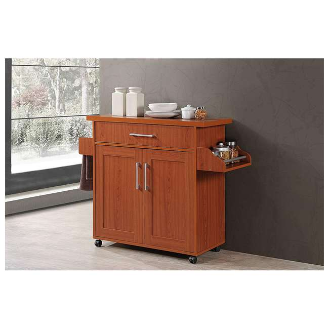 HIKF78 CHERRY Hodedah Wheeled Kitchen Island Cart with Spice Rack and Towel Holder, Cherry 4