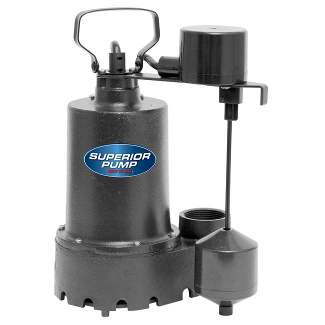 SUP-92341-OB Superior Pump 92341 1/3 HP Side-Discharge Cast Iron Sump Pump (Open Box)