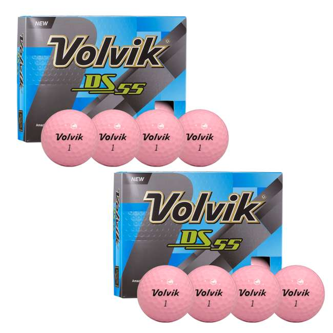 DS-55 (Pink) Volvik Tour Quality Dual Spin 55 Compression Golf Balls, Pink (2 Packs of 12)