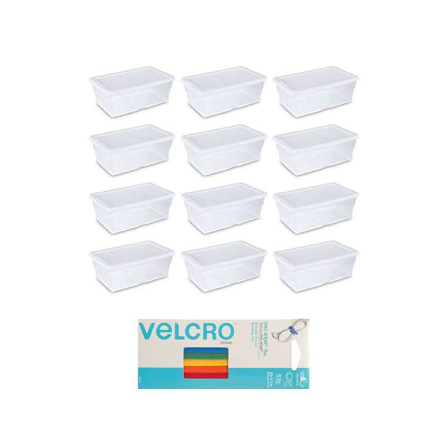 12 x 16428012 + 90438 Sterilite 6qt Box (12) Bundled with VELCRO® Brand Wire/Cord/Cable Ties (5)