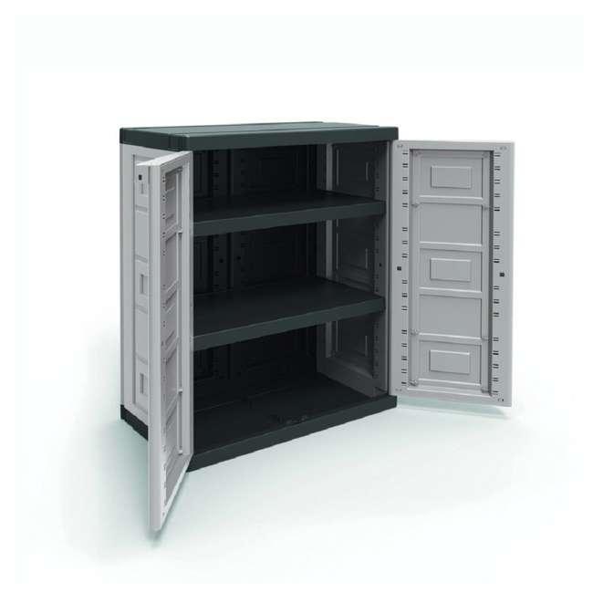 Storage No 2 Utility Storage: Contico 2 Shelf Plastic Garage Base Utility Cabinet, Gray