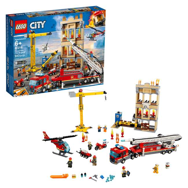 6251474 LEGO City 60216 Downtown Fire Brigade Block Building Kit with 7 Minifigures