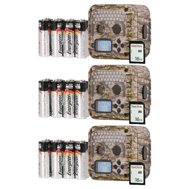 3 x WGICM0653 Wildgame Innovations Shadow Infrared Game Trail Camera (3 Pack) with SD Cards