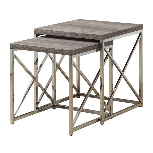 MS-VM3255-U-A Monarch Specialties 2-Piece Accent End Tables, Dark Taupe (Open Box) (2 Pack)