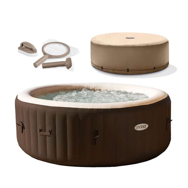 28403VM + 28523E + 28004E Intex PureSpa 4 Person Inflatable Hot Tub with Replacement Cover & Accessory Kit