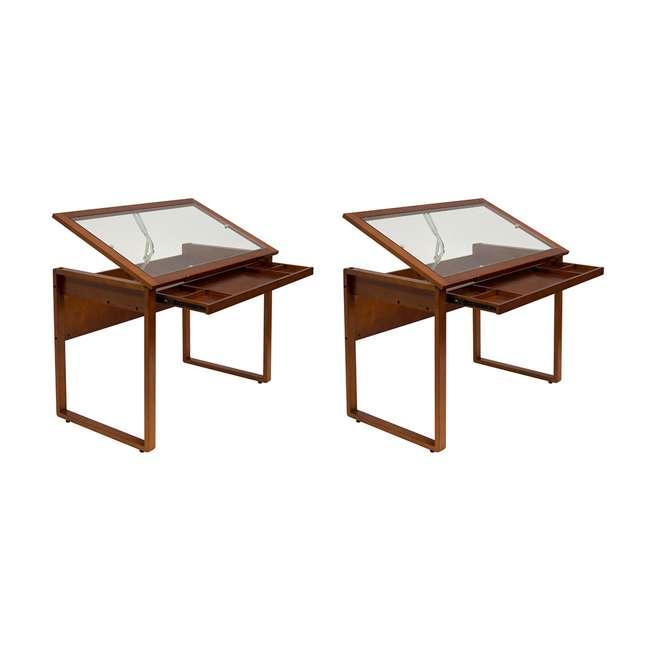 STDN-13280 Studio Designs Wooden Glass Top Ponderosa Drafting Desk (2 Pack)