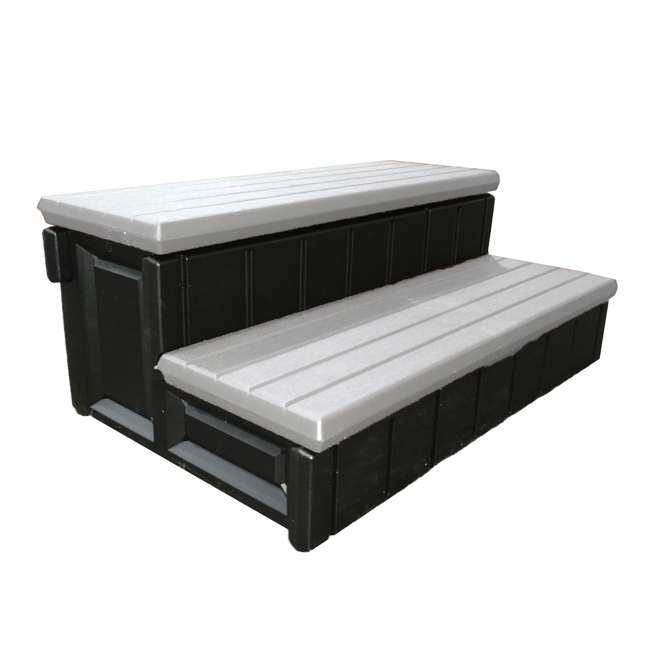 """LASS36-G-U-A Leisure Accents 36"""" Deluxe Deck Patio Spa Hot Tub Steps Gray (Open Box) (2 Pack) 2"""