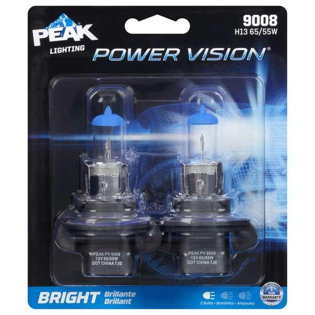 9008PV-2BPP PEAK Lighting Power Vision 9008 H13 65W Bright White Halogen Headlight Bulbs