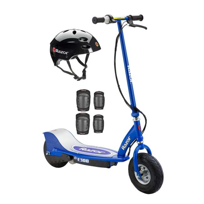 13113640 + 97778 + 96785 Razor E300 Electric Scooter (Blue) with Helmet, Elbow & Knee Pads