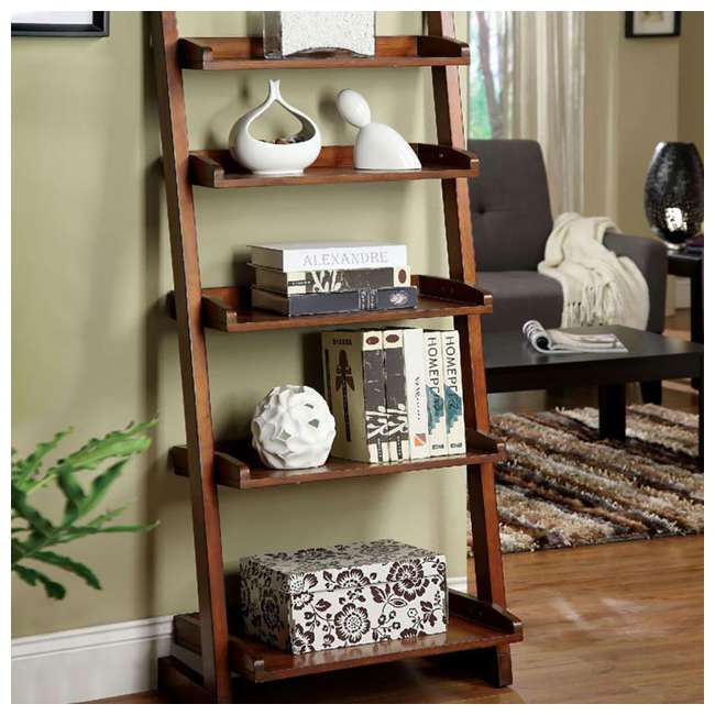 IDF-AC293-U-B Furniture of America Wood Lugo Leaning 5 Tier Ladder Shelf Bookcase (Used) 1