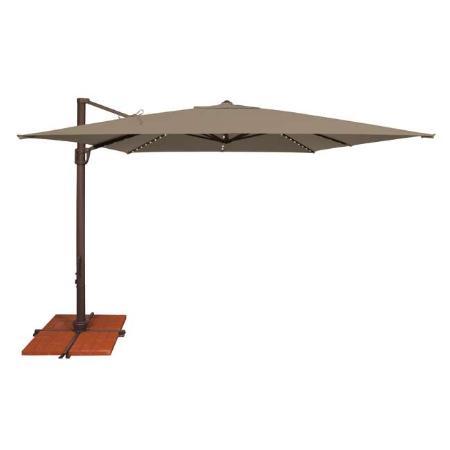 SSAD45SL-10SQ00-D3474 SimplyShade Bali 10 Foot Square Cantilever Outdoor Patio Balcony Umbrella, Taupe