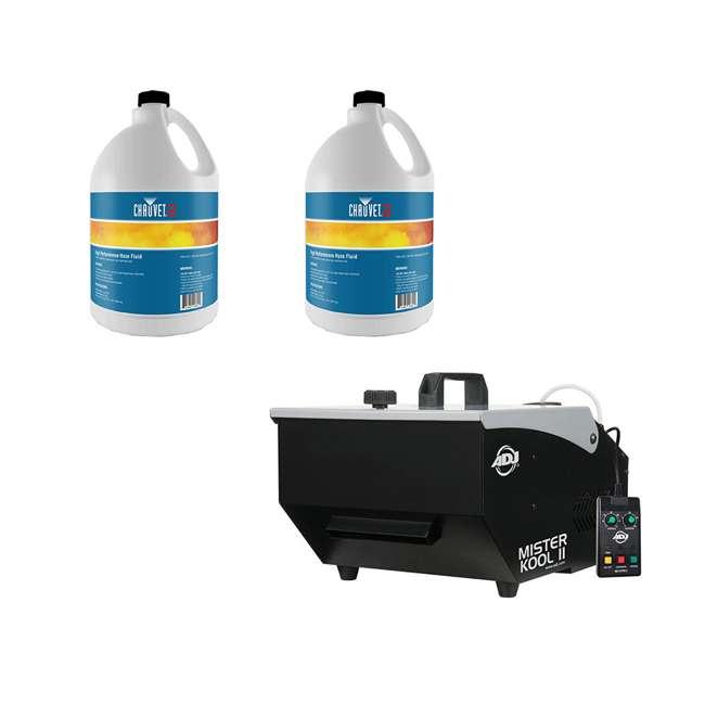 MISTER-KOOL-II ADJ Mister Kool II Water Based Fog Machine Chauvet DJ Hurricane Fog Machine Fluid, 1 Gallon (2 Pack)