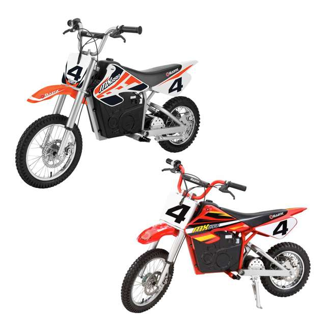 15165010 + 15128190 Razor Electric Dirt Rocket Bikes, 1 Orange & 1 Red