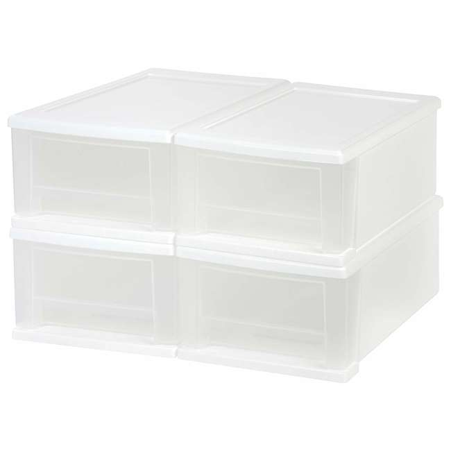 129873-4PK IRIS USA 7 Quart Hard Plastic Extra Large Stacking Tote Drawer, White, (8 Pack) 1