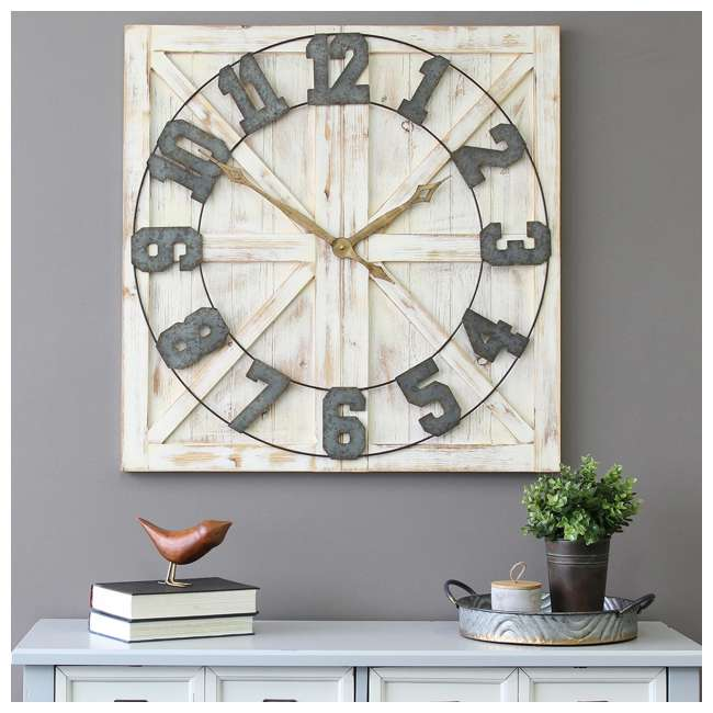 S11545 Stratton Home Decor S11545 Rustic Wood and Metal Farmhouse Mounted Wall Clock 1