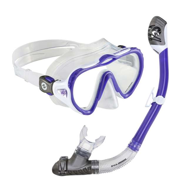 261206 U.S. Divers Lady Starlet LX Mask & Tucson Snorkel with Pro-Glide Buckles, Purple