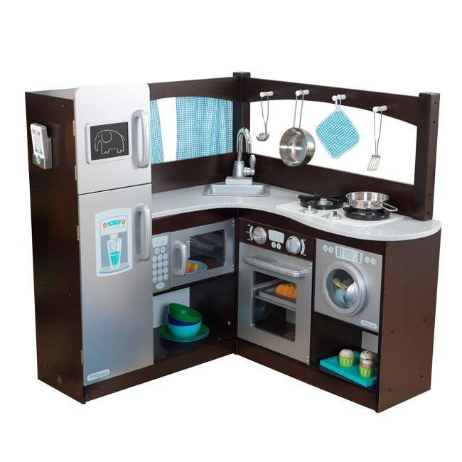 53302 KidKraft Grand Gourmet Espresso Corner Kitchen with Metal Cookware Set