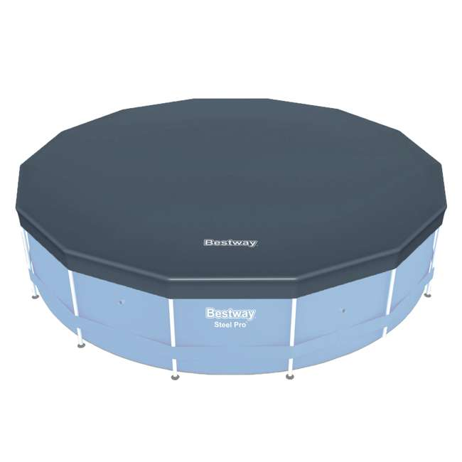 58248E-BW-U-A Bestway Round PVC 14 Foot Pool Cover for Above Ground Pro Frame Pools (Open Box)