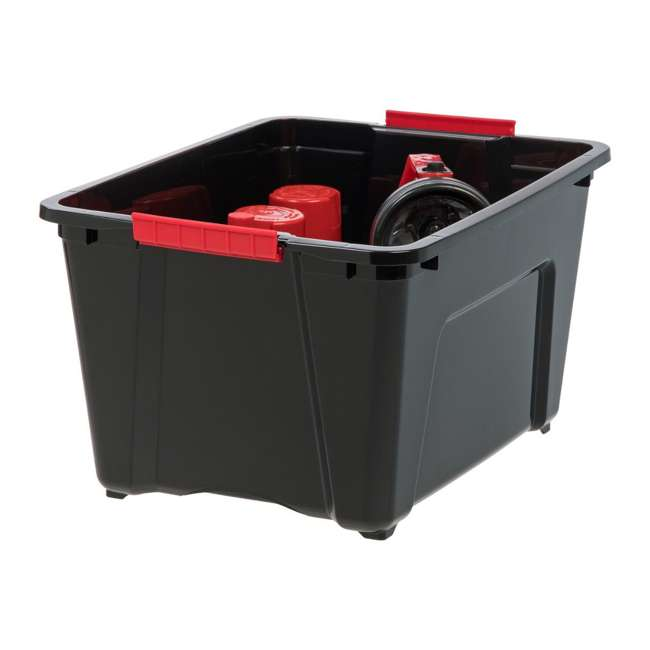 588247-6PK IRIS 32 Quart Stack and Pull Storage Container Box Bin System w/ Lids (6 Count) 1