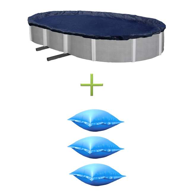 Swimline 12 39 X 24 39 Oval Above Ground Pool Cover W 3 Winter Closing Air Pillows Co91224 3 X