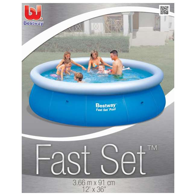 """57278E-BW Bestway 12' x 36"""" Fast Set Inflatable Above Ground Pool w/ Filter Pump (2 Pack) 5"""