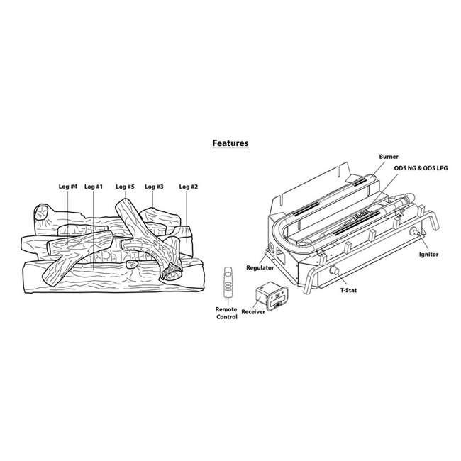 REM-L240CNR-F-U-C Remington 24 Inch Rocky Point Split 32,000 BTU Natural Gas Log Set (For Parts) 4