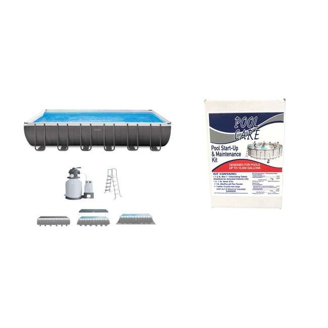 26363EH + QLC-42005 Intex Above Ground Swimming Pool Set + Qualco Pool Chemical Maintenance Kit