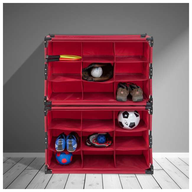 4 x RSF-TP-RB Origami 9-Cube Storage Organizer Shelf, Red (8 Pack) 5