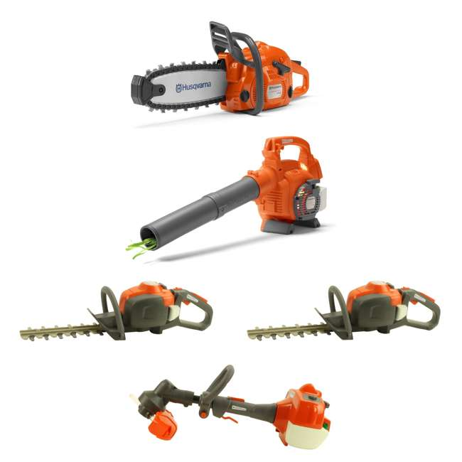 HV-TOY-522771104 + HV-TOY-589746401 + 2 x HV-TOY-5 Husqvarna Toy Chainsaw, Leaf Blower, Hedge Trimmer (2-Pack) and Lawn Trimmer