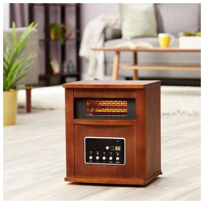 LIM-19-100004 Limina Portable Electric 1500W Infrared Quartz Cabinet Space Heater, Dark Walnut 2