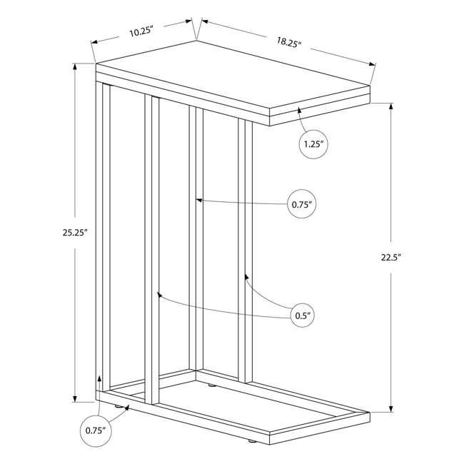 VM-3007-U-A Monarch Specialties Contemporary Rectangular End Table, Cappuccino |  (Open Box) 2