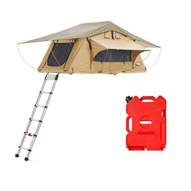 01AYR011606 + RX-2G Tepui Tents Ayer Explorer 2 Person Car Roof Top Tent & 2 Gallon Gas Container