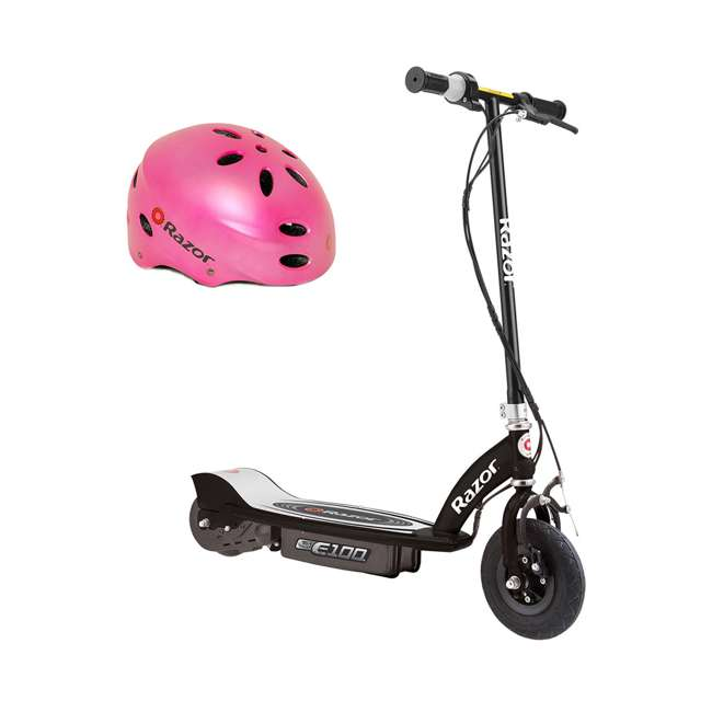 13110097 + 97783 Razor E100 Electric Rechargeable Kids Ride On Scooter & Razor V17 Youth Helmet