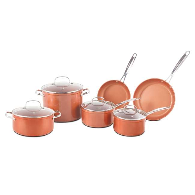 NW-31422-OB NuWave Forged Non-Stick 10-Piece Stainless Steel Cookware Set (Open Box)