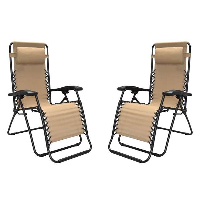 CVAN80009000152-2PK-U-B Caravan Canopy Infinity Zero Gravity Steel Frame Patio Deck Chair (Pair) (Used)