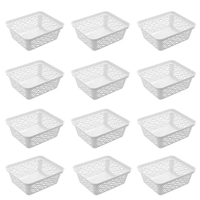 12 x FBA32136 Ezy Storage Small Decorative Plastic Brickor Shelf Pantry Basket Bin, (12 Pack)