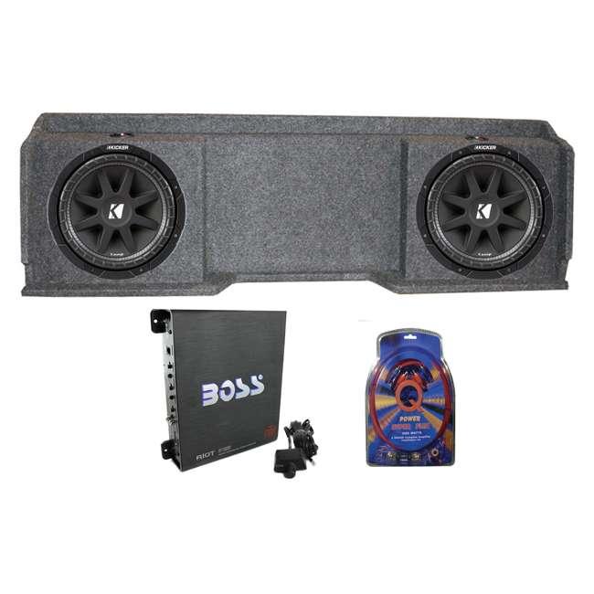 QGMC10DF + 2 x 43C104 + R1100M + 4GAMPKIT-SFLEX Kicker 10C104 Gmc Chevy Silverado Extended Cab '99-06 Dual Subwoofer Package Box Amp Wire (Pair)