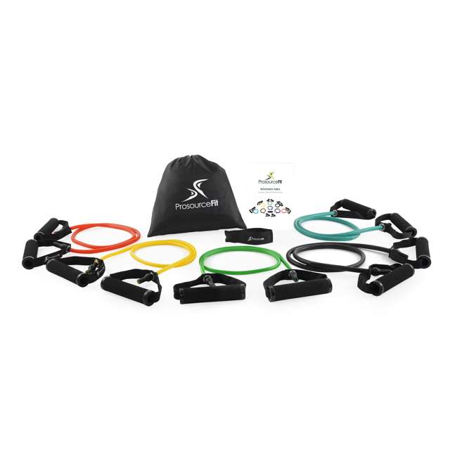 ps-1001-gdm Prosource Fit Tube Handle Resistance Bands with Door Anchor and Carrying Case