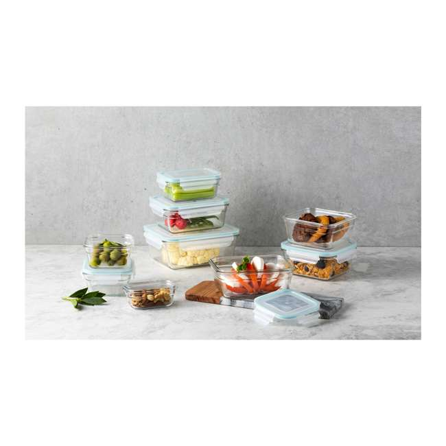 12012-18 PC-OVEN Glasslock Oven and Microwave Safe Glass Food Storage Containers 18 Piece Set 1