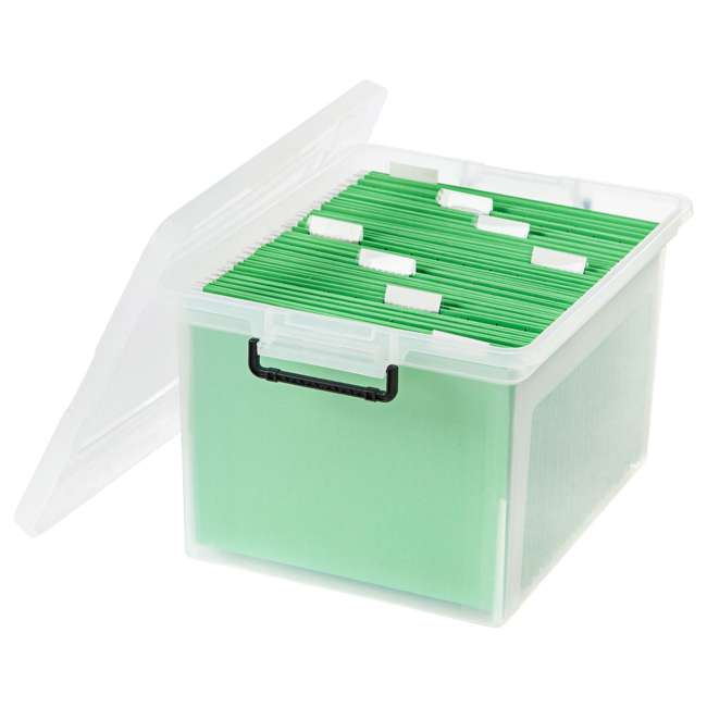 585950-6PK IRIS USA Letter and Legal Size File Box Storage Container with Buckle, Clear 3