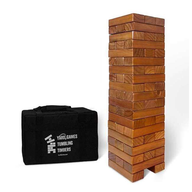 TIMBERS-002 YardGames Giant Tumbling Timbers Wood Stacking Game with 56 Stained Pine Blocks