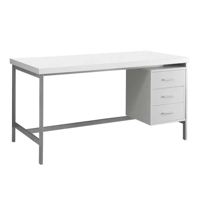 "MS-VM7046-U-A Monarch Specialties 60"" Contemporary Computer Desk w/ Drawers, White (Open Box)"