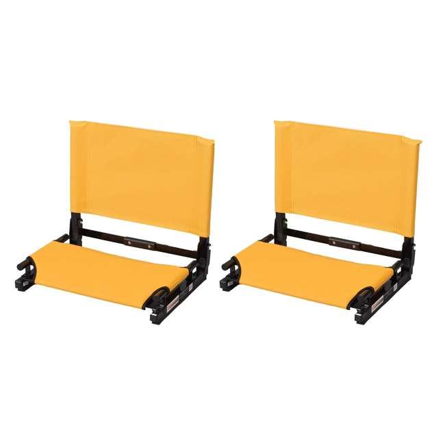 SC2-GOLD Stadium Chair Game Changer Bleacher Seat, Gold (2 Pack)