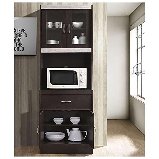 """HIKF96 CHOCO-GREY Hodedah Import 70"""" Tall Top/Bottom Enclosed Kitchen Cabinet w/ Drawer, Chocolate 2"""