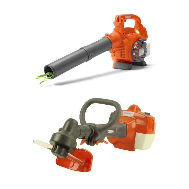 589746401 + 585729102 Husqvarna Kids Battery Operated Toy Leaf Blower + Toy Lawn Weed Trimmer