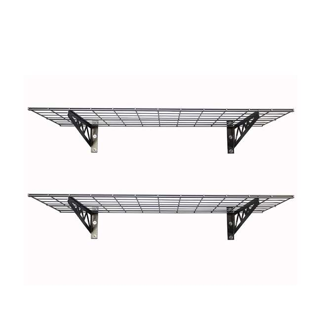 SR-WS1 24x48-H SafeRacks 24 x 48 Inch Garage Wall Shelf Two-Pack with Bike Tire Hooks, Gray